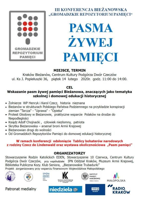 """14.02 Zapraszamy na konferencję z cyklu """"Gromadzkie Repozytorium Pamięci""""."""