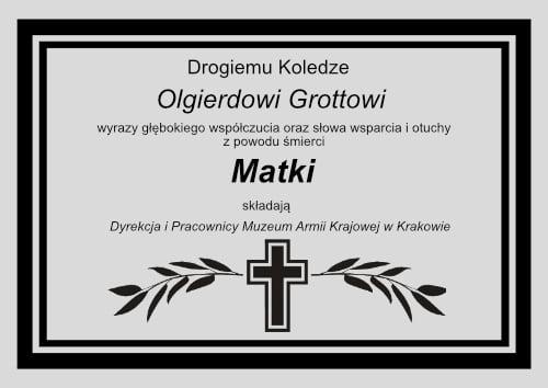 Najszczersze wyrazy współczucia dla Naszego Kolegi Olgierda Grotta.